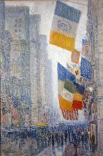 Childe Hassam (American, 1859-1935), Lincoln's Birthday Flags -- 1918, 1918. Oil on canvas, 36 1/4