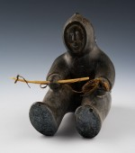 "Timothy (Inuit), Sitting Hunter, n.d. Stone, 5 5/8"" x 3 ½"" x 6 ¼"" (14.2 x 8.9 x 15.9 cm). Bequest of Mr. Mr. William C. Estler, 1982.51.7AB"
