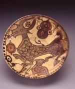 Bowl, Nishapur, Iran, 10th-11th centuries, Underglaze-painted earthenware; Overall: 3 3/8