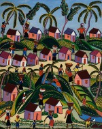 "Montas Antoine, (1926-1988, Haitian), The Busy Village, n.d. Oil on masonite, 29 3/8"" x 23 3/8"" (74.7 x59.4 cm). Bequest of Winslow Anderson, 2008.5.59"