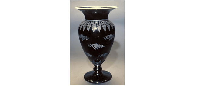 "<p><b><i>Vase</i></b>, H.P. Sinclaire and Co., Steuben Glass Works, Corning, New York, United States, about 1919-1933. Glass. Overall: 11 1/2 x 6 1/8"" rim diameter. Gift of Mr. Wilbur E. Myers, 1993.1.106.</p>"