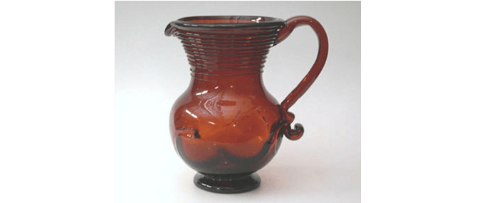 "<p><b><i>Milk Jug</i></b>, Unidentified, Saratoga, New York, United States, about 1850. Glass. Overall: 8 5/8 x 8 1/8 x 6"". Gift of Wilbur E. Myers, 1993.1.145</p>"