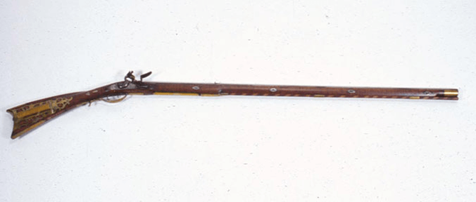 "<p>Simon Miller (American, Hamburg, Pennsylvania, active 1790-1820), <b><i>Kentucky Flintlock Rifle</i></b>. Overall: 9 1/2 x 58 x 2 1/8"". Bequest of Herman P. Dean, 1961.52.</p>"