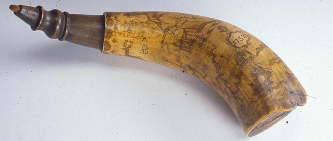 "<p><b><i>Powder Horn</i></b>, United States, 1760. Horn, wood. Length: 13 1/8"". Bequest of Herman P. Dean, 1964.23.</p>"