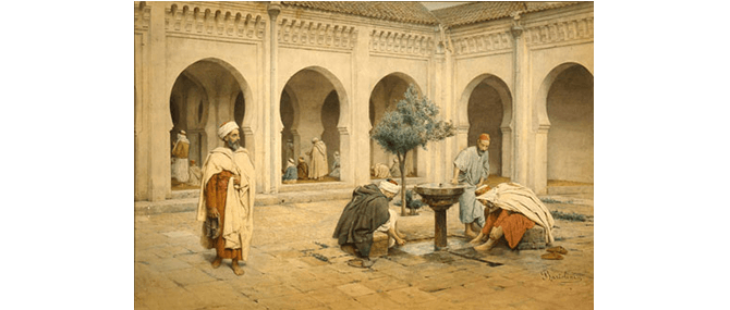 <p><b><i>Preparing for Prayer</i></b>, Filippo Bartolini (Italian, active 1861-1908), Italy, 19th century, about 1875. Watercolor on paper. Image: 14 x 21&#8221;. Framed: 22 x 29 x 2&#8221;. Gift of Drs. Joseph B. and Omayma Touma, 1991.2.51.</p>