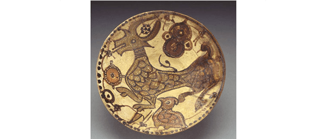 <p><b><i>Bowl</i></b>, Nishapur, Iran, 10th-11th centuries. Underglaze-painted earthenware. Overall: 3 3/8 x 7 7/8&#8221;. Gift of Drs. Joseph and Omayma Touma and family, 2000.10.35.</p>