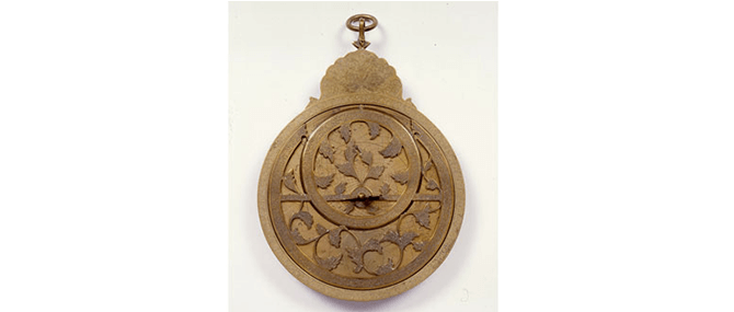 <p><b><i>Astrolabe</i></b>, Iran, 1130 A.H. (1717-1718 A.D.) Brass. Overall: 8 3/8 x 5 3/4 x 1 1/2&#8221;. Gift of Drs. Joseph and Omayma Touma and Family, 2000.10.91.</p>