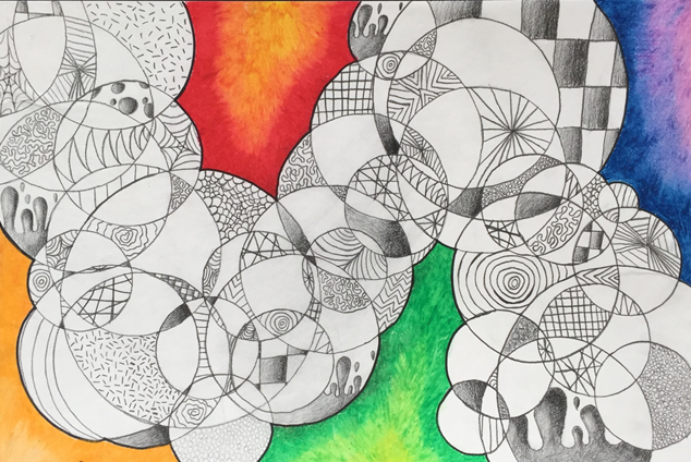 Karlie Salmons, The Craze Maze, Chesapeake Middle School, Pencil & Oil Pastel, LeAnna Collins - Teacher