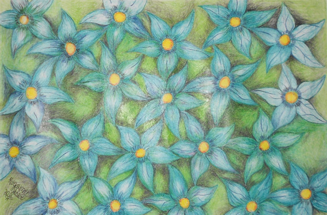"Maryauna Hester of Beverly Hills Middle School, ""Blaze of Blue Flowers,"" Colored Pencil. Instructor Sofija Smith"