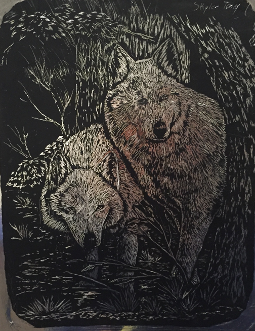 Skyler Toney, Two Wolves, Guyan Valley Middle School, Scratch Board, Mary Lou Decker - Teacher