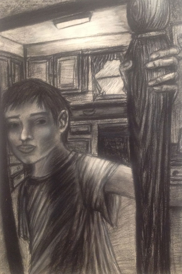 "Erin Keller of Winfield High School, ""Scotty."" Conte crayon. Instructor Erin R. Crouch."