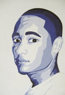 "Darian Hensley of Huntington High School. ""Self-Portrait,"" Tempera. Instructor Angela Webb."