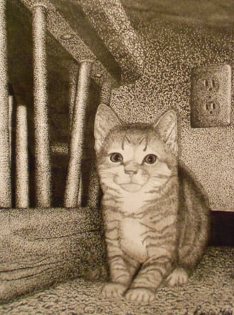 "Kendra Mead of Winfield High School, ""Here Kitty Kitty,"" Ink. Instructor Suzann Cole."