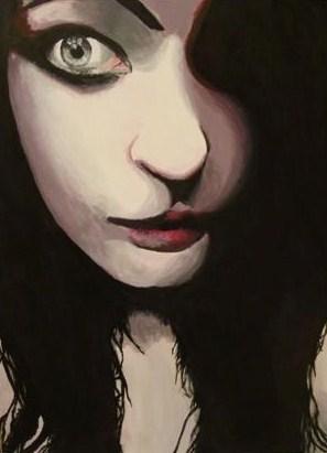 """Brandy Ward of Huntington High School, """"Self-Portrait,"""" Acrylic. Instructor Angela Webb."""