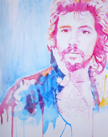 "Chloe Barber of Hurricane High School, ""Cat Man,"" Watercolor. Instructor Reuben Ellis."