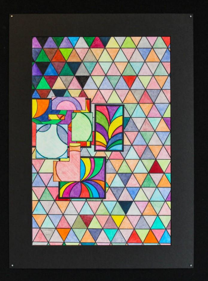 Morgan Schultz<br /> Geometric Study<br /> Colored Pencil<br /> Kaitlin Donnally – Instructor<br /> Dawson – Bryant High School