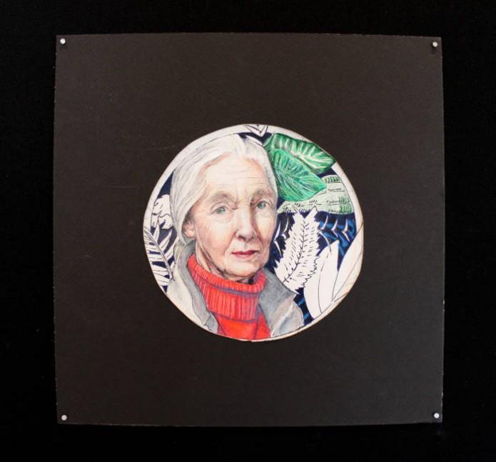 Sarah Tarr<br /> Jane Goodall<br /> Colored Pencil<br /> Jennifer Spade – Instructor<br /> Ashland Blazer High School