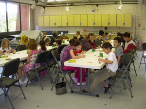 Kids and families making art