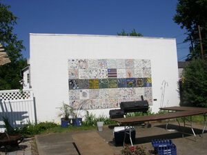 Reclaiming the Urban Landscape is a mosaic wall at the Barnett Center.
