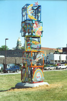 Award-winning sculpture, Building Blocks in downtown Huntington